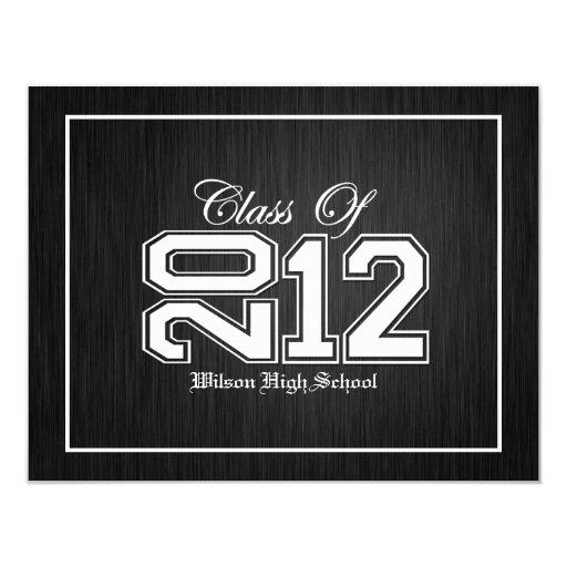 """Class of 2012 Premium Silver Graduation invites 4.25"""" X 5.5"""" Invitation Card"""