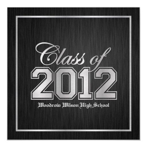 """Class of 2012 Premium Silver Graduation invites 5.25"""" Square Invitation Card"""