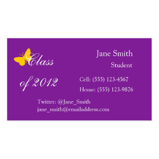 Class of 2012 - Purple and Gold Business Card Templates