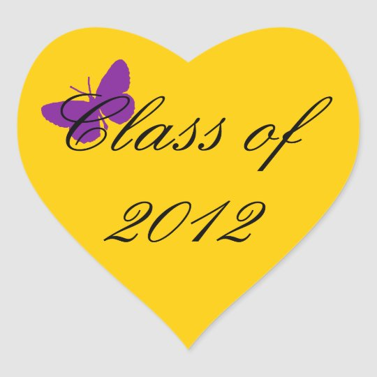 Class of 2012 - Purple and Gold Heart Sticker