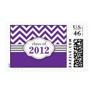 Class of 2012 Purple Chevron Stripe Graduation stamp