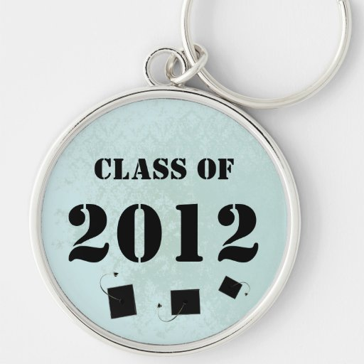 Class of 2012 Senior Graduation Invitation & Gifts Silver-Colored Round Keychain