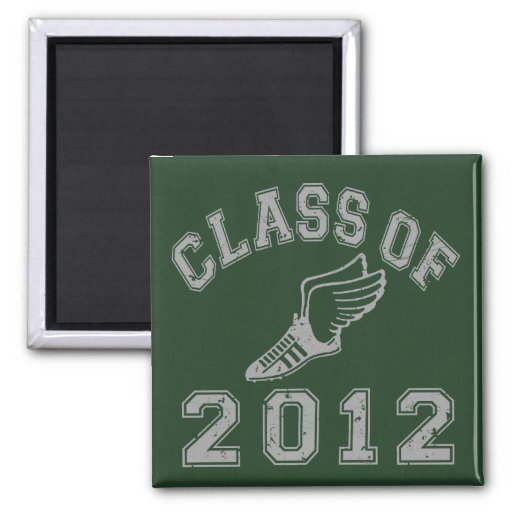 Class Of 2012 Track & Field Grey 2 2 Inch Square Magnet