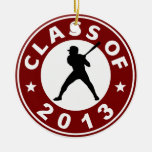 Class Of 2013 Baseball Double-Sided Ceramic Round Christmas Ornament