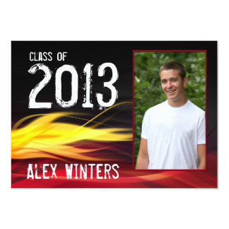 Class of 2013 Black and Red Flame Graduation Card