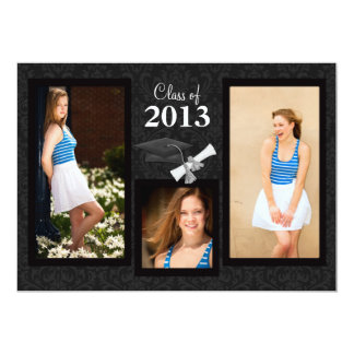 Class of 2013 Black Damask Graduation Invitation