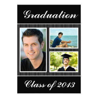 Class of 2013 Black Striped Graduation 3 Photo Invites