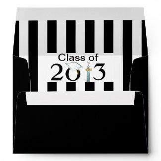 Class of 2013 Black & White Striped Grad Envelope