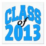 "Class of 2013 (blue ) 5.25"" square invitation card"
