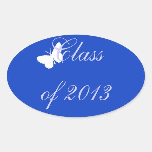 Class of 2013 - Blue Butterfly Oval Sticker