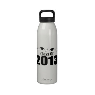 Class Of 2013 Caps And Diplomas Black Water Bottle