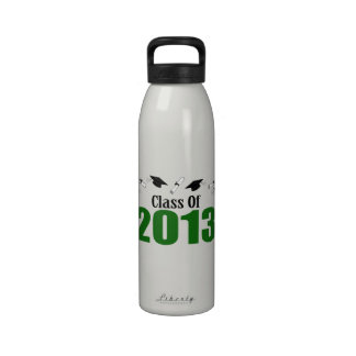 Class Of 2013 Caps And Diplomas Green Drinking Bottle