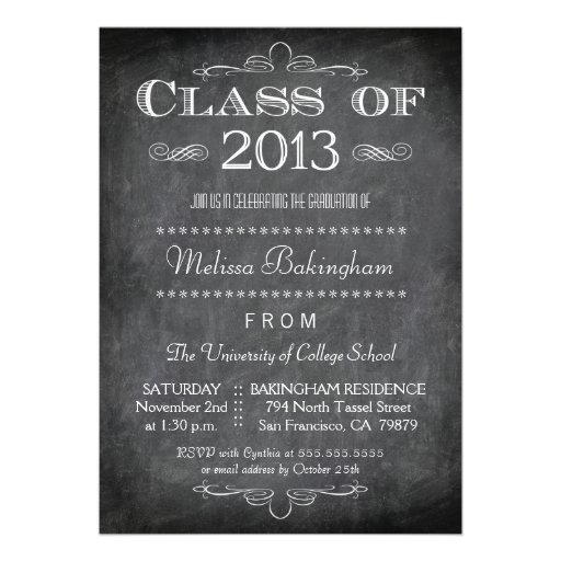 Class of 2013 chalkboard graduation party invite
