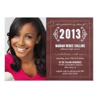 """Class of 2013 Chalkboard Graduation Photo Invite 5"""" X 7"""" Invitation Card"""