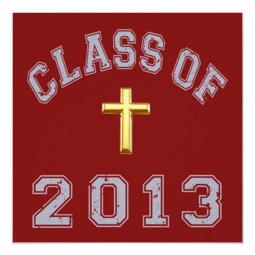 Class Of 2013 Christian Cross - Grey 2 Card