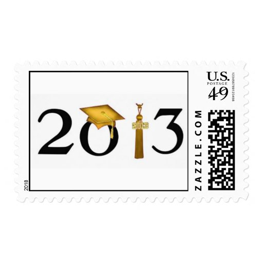 Class of 2013 Gold & Black Grad Postage Stamp