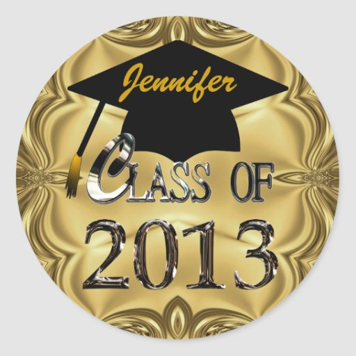 Class Of 2013 Gold Graduation Stickers