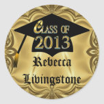 Class Of 2013 Gold With Cap Graduation Stickers