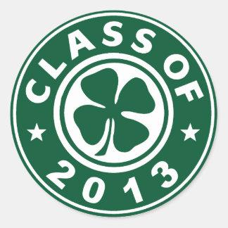 Class Of 2013 Good Luck Shamrock Classic Round Sticker