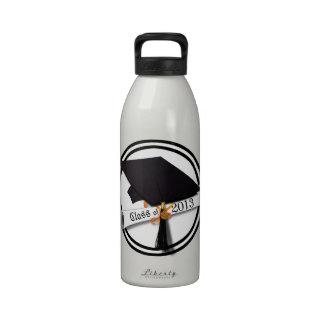 Class of 2013 - Grad Cap Diploma - Black White Reusable Water Bottles