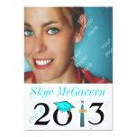 """Class of 2013 Grad Photo Invite Aqua 5"""" X 7"""" Invitation Card"""