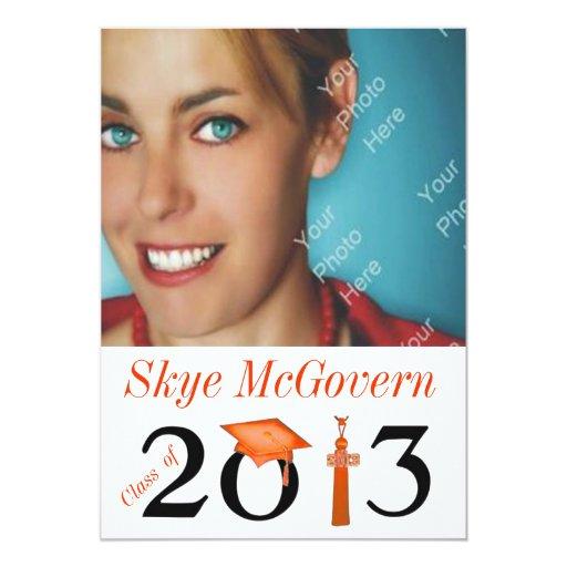 """Class of 2013 Grad Photo Invite Orange 5"""" X 7"""" Invitation Card"""