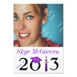 """Class of 2013 Grad Photo Invite Purple 5"""" X 7"""" Invitation Card"""