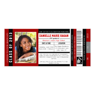 Class of 2013 Graduation VIP Admission Ticket Personalized Announcement