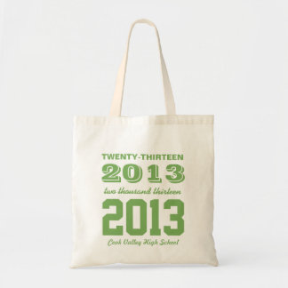Class of 2013 High School Graduation Tote in Green Budget Tote Bag