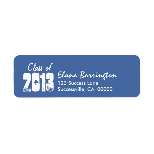 Class of 2013 New Grad or Any Year Blue and White Return Address Label