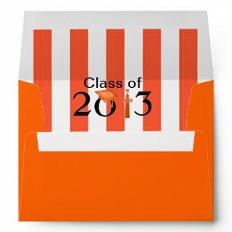 Class of 2013 Orange & White Striped Grad Envelope