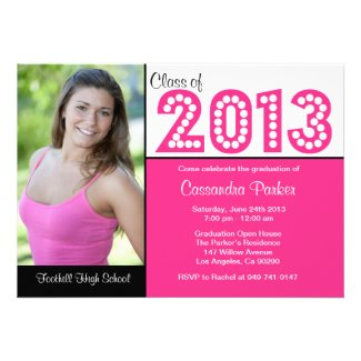 Class of 2013 Pink Graduation Party Invitations