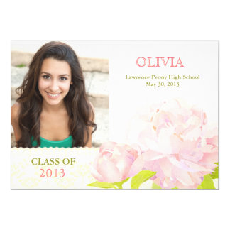 Class of 2013 Pink Peony Girl Photo Graduation Card