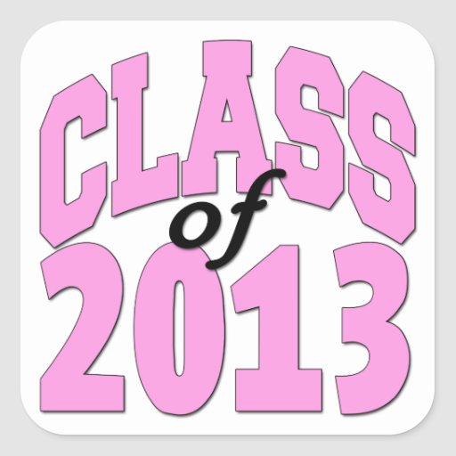 Class of 2013 Pink Square Sticker