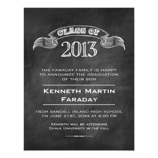 Class of 2013 Simple Chalkboard Graduation Custom Announcements