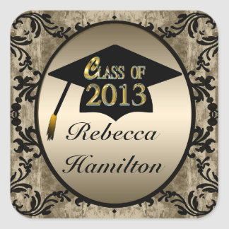 Class Of 2013 Vintage Floral Gold Grad Stickers