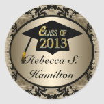 Class Of 2013 Vintage Gold Round Grad Stickers