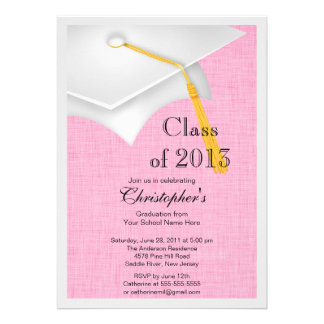 Class of 2013 White Grad Cap Graduation Party Invites