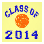 Class Of 2014 Basketball - Orange/Navy 2 Personalized Invitations