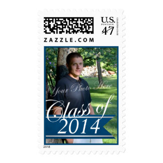 Class of 2014 blue Banner with Photo Postage Stamp
