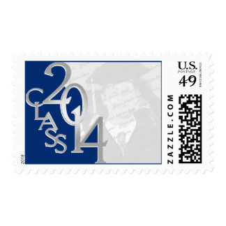 Class of 2014 Blue Silver Grad Photo Stamp
