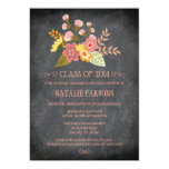 Class of 2014 chalkboard floral graduation party personalized invites