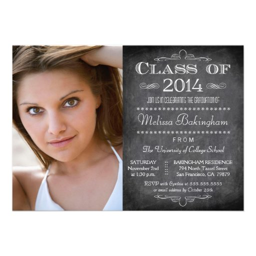 Class of 2014 chalkboard photo graduation party personalized invitations