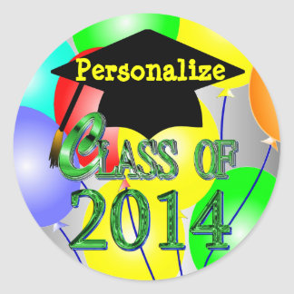 Class Of 2014 Colorful Balloons Stickers