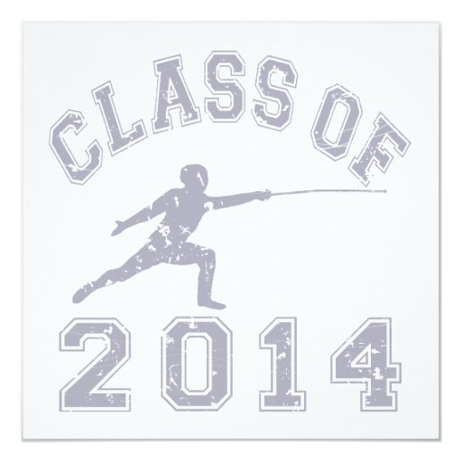 Class Of 2014 Fencing - Grey 2 5.25x5.25 Square Paper Invitation Card