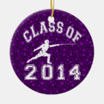 Class Of 2014 Fencing Double-Sided Ceramic Round Christmas Ornament
