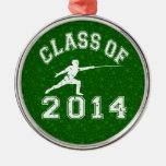 Class Of 2014 Fencing Round Metal Christmas Ornament