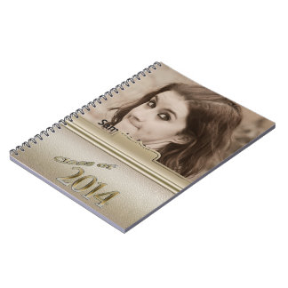 Class of 2014 Gold Personalized Graduation Photo Spiral Notebook