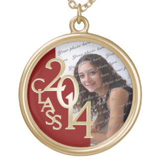 Class of 2014 Grad Photo Red and Gold Gold Plated Necklace