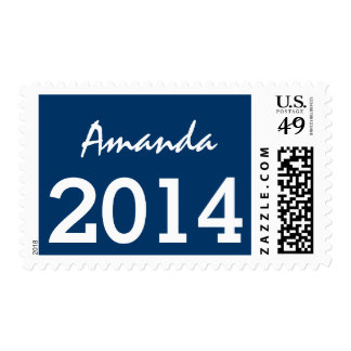 Class of 2014 Graduation Stamp Blue and Pink V07